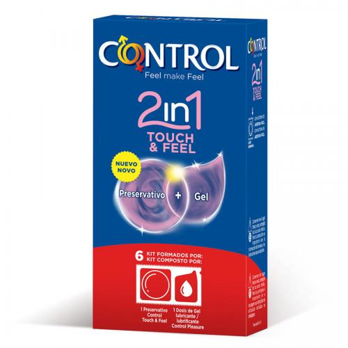 CONTROL 2 IN ONE TOUCH AND FEEL +  LUBRICANTE 6 UNIDADES - Imagen 1