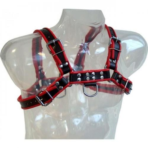 LEATHER BODY CHAIN HARNESS III BLACK / RED - Imagen 1