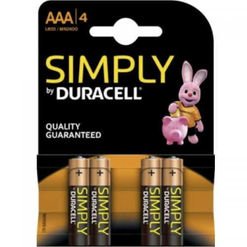 DURACELL SIMPLY PILA ALCALINA AAA LR03/MN2400 4UD - Imagen 1